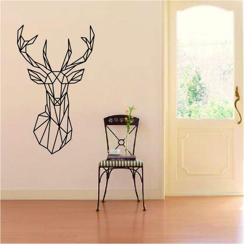 Geometric Deer Head Wall Sticker Geometry Animal Series 3D Vinyl Wall Art Home Decor line art