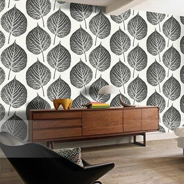 Noir Et Blanc Grand Feuilles Art Mural Papier Peint Vinyle Papel De