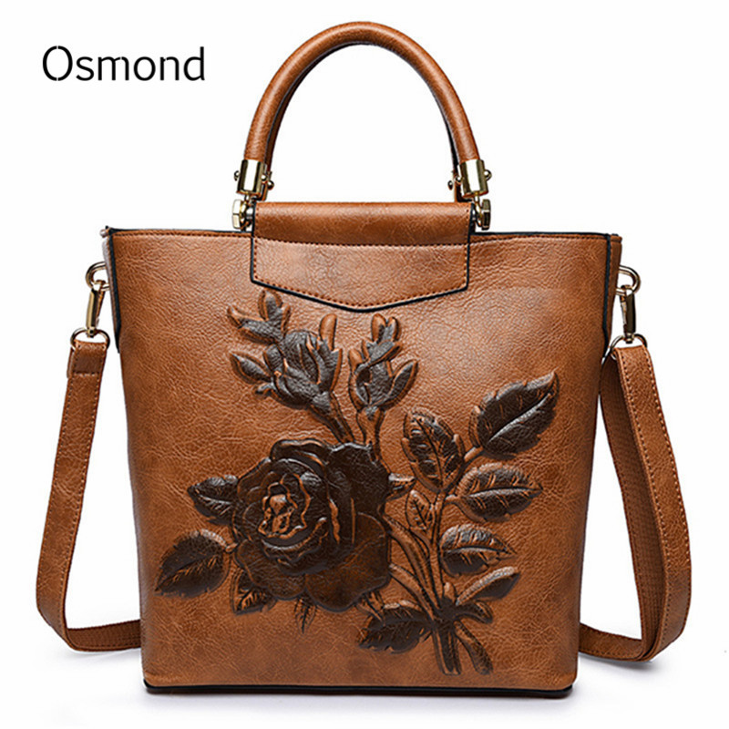 Osmond Female Designer Brown Handbag Women Embroidery Embossing Shoulder Bag Luxury PU Leather Messenger Bags Vintage