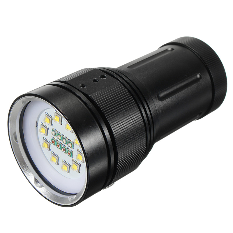 Elfeland Diving Professional Photography Flashlight 10xT6 White(Fill Light) 7000 Lumens 4xRed 4xBlue LED 18650 Scuba Torches