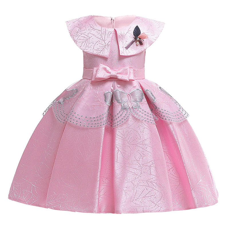 Bow Shawl Children Clothing Mesh Embroidery Flower Girl Dresses Elegant Clothes First Communion Princess Baby Tutu Costume