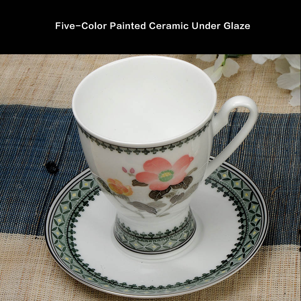 Underglazed Ceramic Cup Hand Painted Porcelain Teaware Camellia 1998 China National Gift To Clinton Tea Coffee Cup With Saucer in Teaware Sets from Home Garden