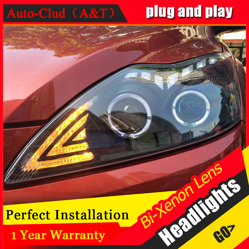 Auto Clud Car Styling for 2009 Ford Focus 2 LED Headlight Focus Headlights Lens Double Beam H7 HID Xenon bi xenon lens hireno headlamp for mercedes benz w163 ml320 ml280 ml350 ml430 headlight assembly led drl angel lens double beam hid xenon 2pcs