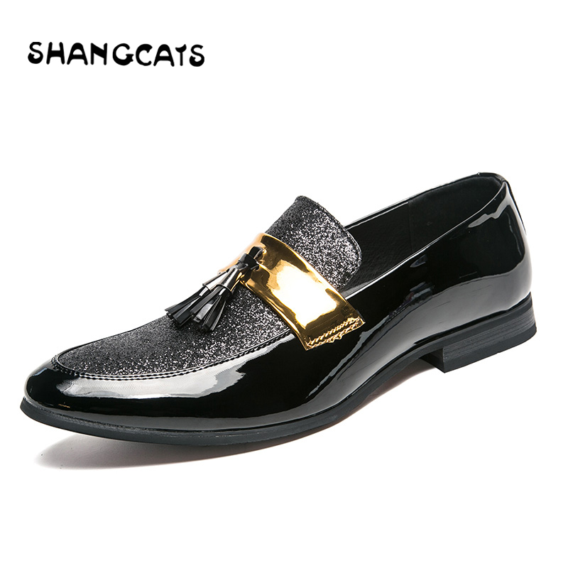 Silver Luxe De Robe 47 Pour Pointu Hommes Black black Chaussures Formelle Taille Plus La Marque Bout Oxford Mariage Mocassins PxIXUU