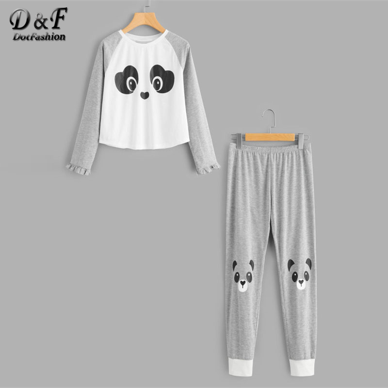 Dotfashion Panda Print Frilled Tee and Sweatpants Pajama Set Multicolor Round Neck Ruffle Cute Female Long Sleeve Pajama Set все цены