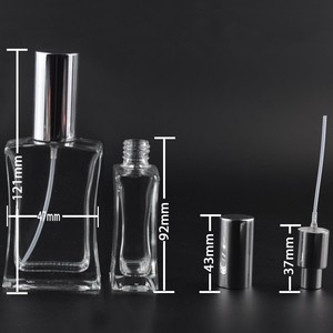 Image 4 - Garrafa de pulverizador portátil do perfume do recipiente cosmético vazio de alta qualidade do atomizador da garrafa de perfume recarregável de vidro 50ml com pacote