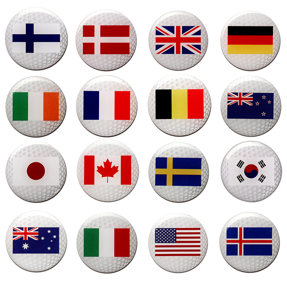 PINMEI Printting Country Flag Golf Ball Mark Sets Covered With Epoxy Covering Golf Marker10pcs/lot Fit For All Magnetic Hat Clip