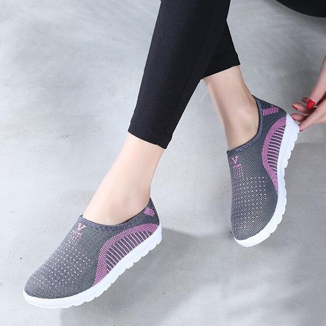 MUQGEW נשים של רשת שטוח טלאים להחליק על כותנה נעליים יומיומיות עבור אישה הליכה פס סניקרס לופרס רך נעליים זאפאטו