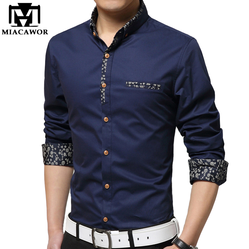 Buy miacawor new casual mens shirt print for Mens slim hawaiian shirt