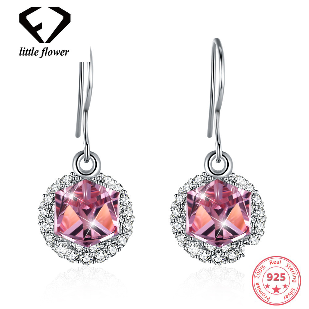 Rose Gold Austria Crystal Geometric Type Drop earring European and American Fashion Silver 925 Zircon for Women Gold Plate Color new european and american fashion steampunk hourglass gear alloy drop earrings