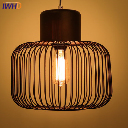 IWHD Iron Vintage Lamp Loft Industrial Pendant Lighting Fixtures Cage Retro Pendant Lights Black White Bedroom Suspended Lamp