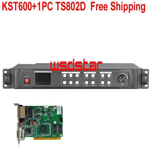 KST600 + 1 шт. TS802D светодиодный дисплей, видеопроцессор 1920*1200 DVI/HDMI/VGA/CVBS, светодиодный видеопроцессор, бесплатная доставка