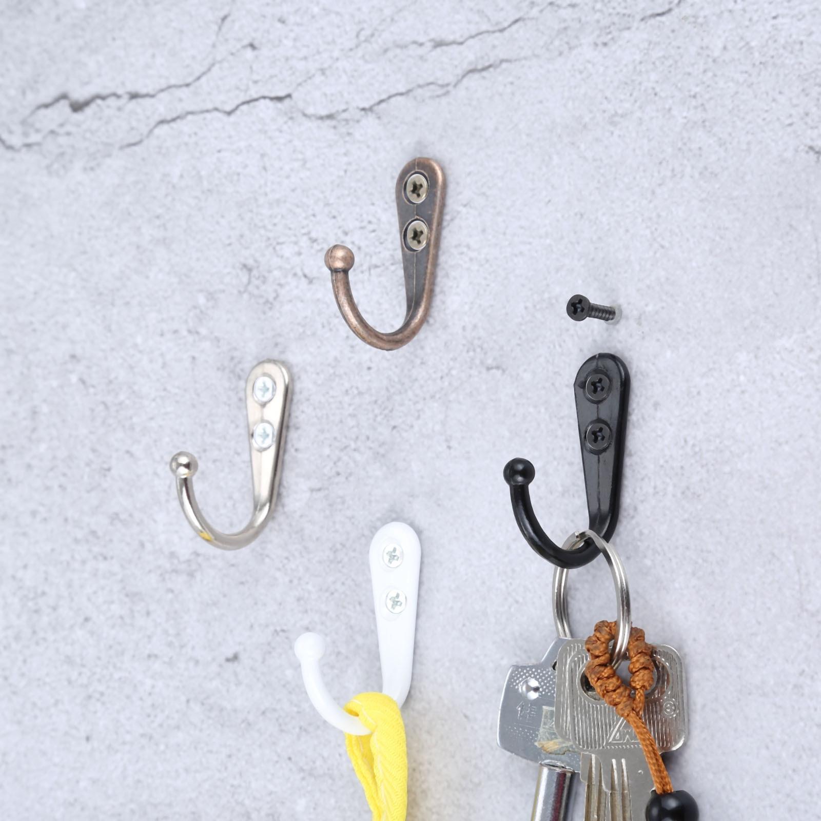 DRELD 5Pcs Single Prong Hook Wall Mounted Cloth Hanger Hook For Coats Hats Towels Keys Clothes Door Hanger Home Decor W/Screws