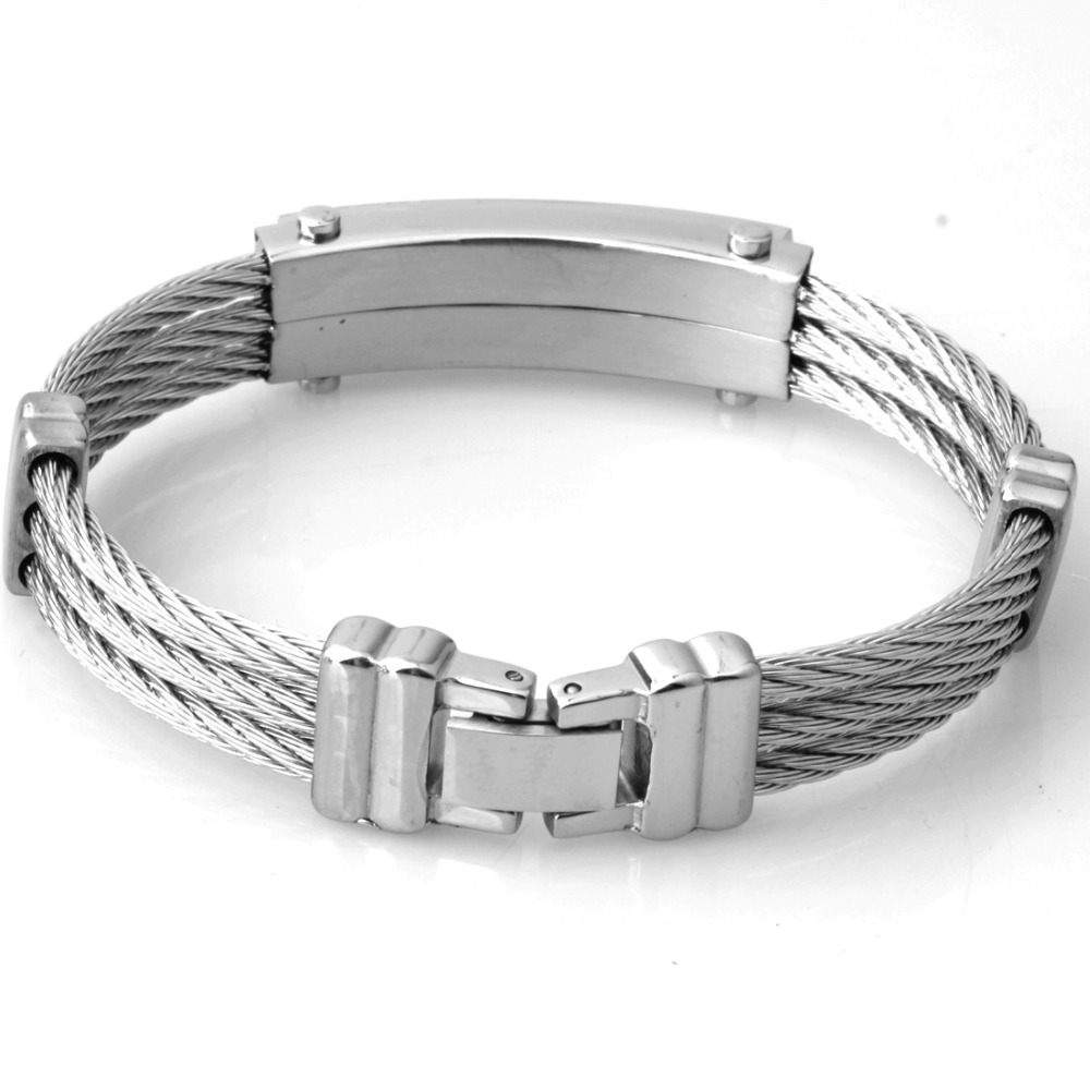 New Mens Stainless Steel Cable Wire Bangles Bracelets For Womens ...
