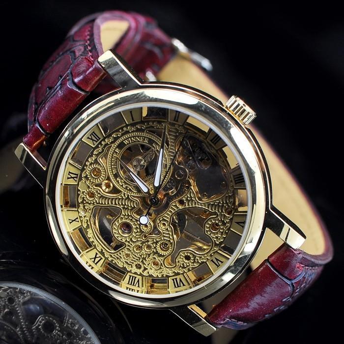 золотой скелет аналоговый дисплей часы свободного покроя мужские руководство ветер механические наручные часы бесплатная доставка