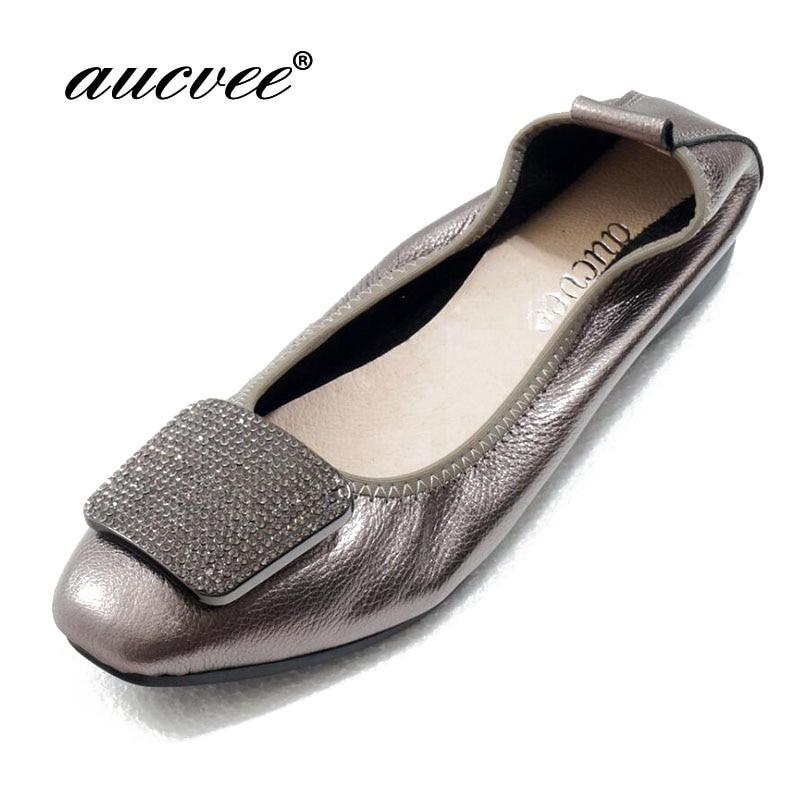 aucvee Genuine Leather Ballet Flats Women Flat Shoes Brand Woman Ballet Soft Heel Ballerina Flats Rhinestone