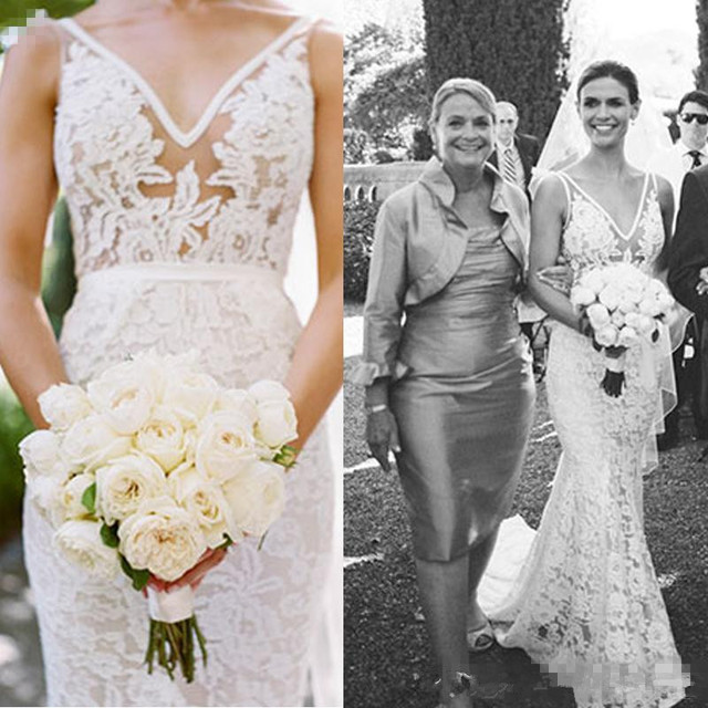 54e01674b120cb Lace Open Back Wedding Dresses 2017 Sexy Inbal Dror V Neck Vintage Mermaid  See Through Beach Country Bridal Gowns Sweep Train