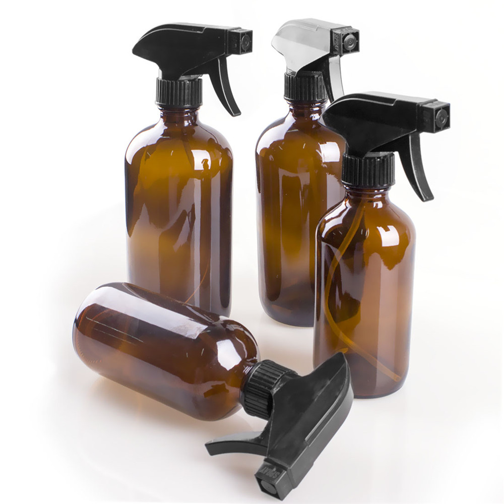 MAANGE 250/500ml Large Empty Amber Glass Bottles With Black Trigger Mist Stream Spray