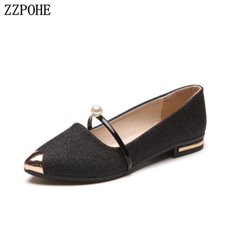 2018 Spring Autumn New Ladies Flat Shoes Casual Comfortable Pointed Toe Soft Women Single Shoes Female Slip On Wedding Shoes shoes women comfortable casual soft fashion slip on pointed toe suede flat loafers shoes