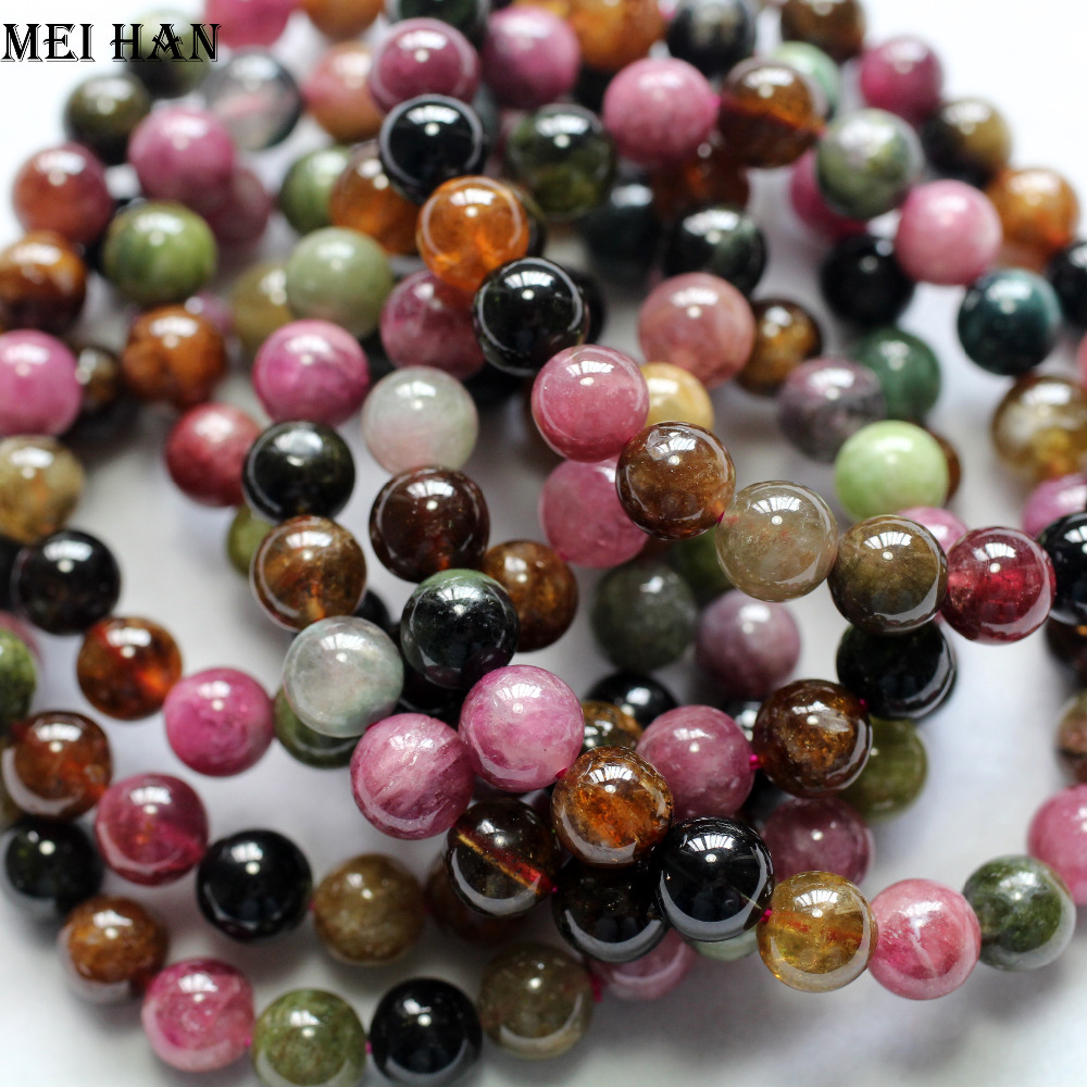 Meihan wholesale 22beads set 22g natural A tourmaline 8 3 8 8mm round loose beads stone