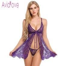 Avidlove Sexy Open Babydoll Lingerie Erotic Hot Sex Costume Floral Lace Short Mini Sleepwear Nightwear Exotic Apparel Black