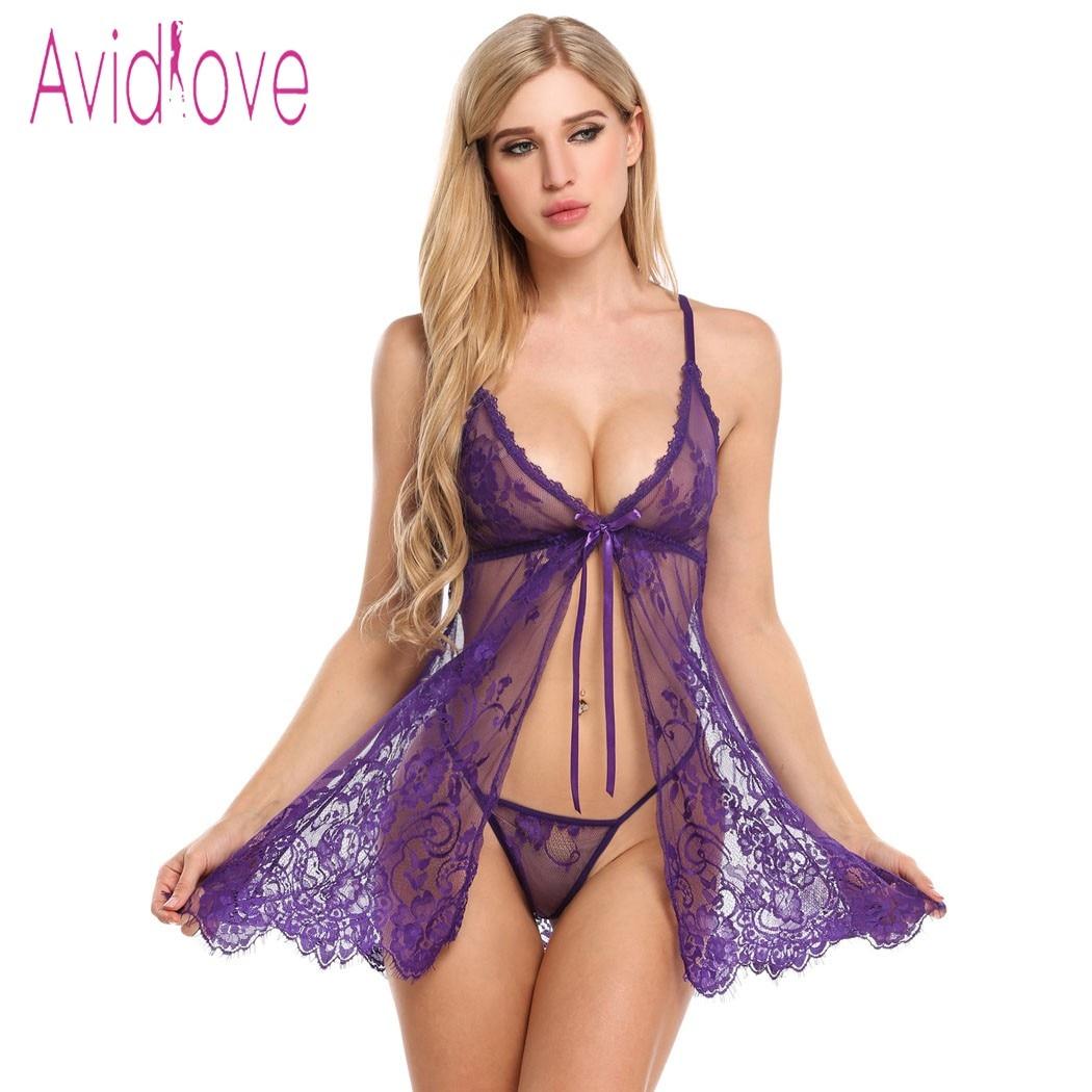 Avidlove Sexy abierto Babydoll Lencería erótica caliente sexo disfraz Floral encaje corto Mini ropa de dormir ropa de noche exótica negro