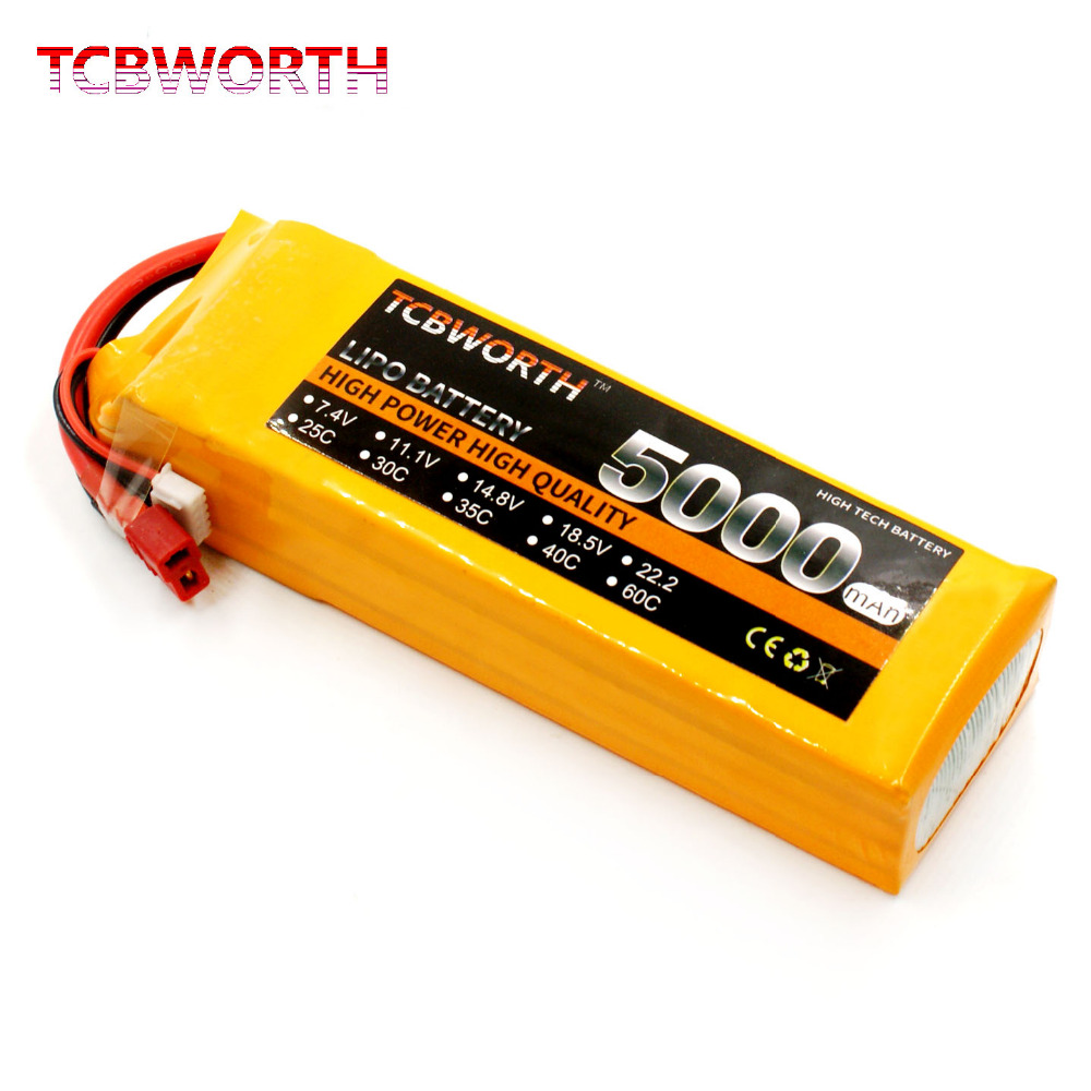 TCBWORTH Batteries 14.8V 5000mAh 30C 4S RC Airplane LiPo Battery For RC Quadrotor Helicopter AKKU Drone Car Truck Toys Batteries image