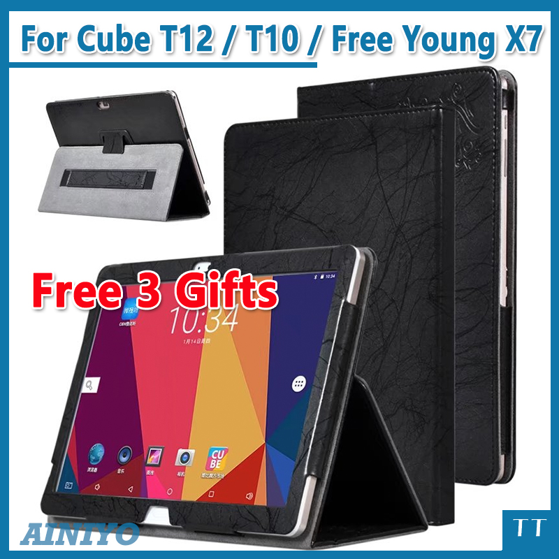 High quality Print PU cover Case For ALLDOCUBE/Cube T12 / T10 / Free Young X7 / T10 Plus 10.1 inch Tablet PC + Screen film gifts