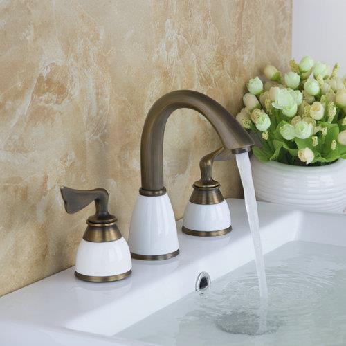 ФОТО Antique Brass Bathtub Faucet Torneira Bathroom Faucet  3 Pieces Set Double Handles Deck Mounted Basin Sink Faucet Mixers &Taps