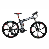 26 Inches Bicycles Steel 24 Speed Double Shock Absorption Folding Mountain Bike Double Disc MTB Bicycle