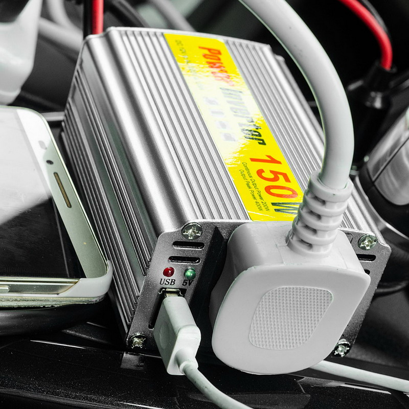 цена на 1 PC Hot Selling 150W Outlets Power Inverter DC 12V to AC 220V Car Adapter Laptop Smartphone