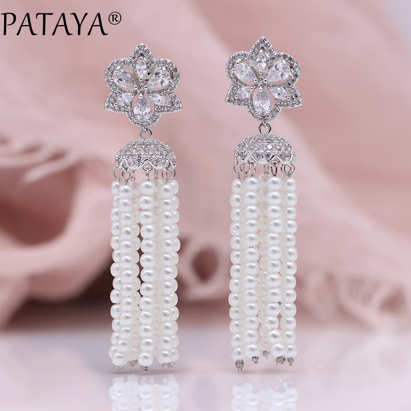все цены на PATAYA New Long Tassel Earrings White Gold Shell Pearls Women Jewelry Water Drop Natural Zircon 925 Silver Needle Stud Earrings