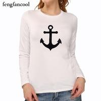 fengfancool New Fashion brand Spring autumn style Anchor printed long sleeve t shirt women tops t-shirt O-neck cotton tee