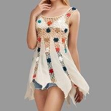 Women Hollow Out Floral Embroidery Dress Beach Crochet Dress O-Neck Sexy Boho Mini Dress crochet trim floral print dress