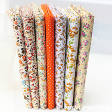 New arrival 7pcs/lot 25*25CM Orange 7 Assorted Pre Cut Fat Quarters Bundle 100% Cotton Quality Fabric