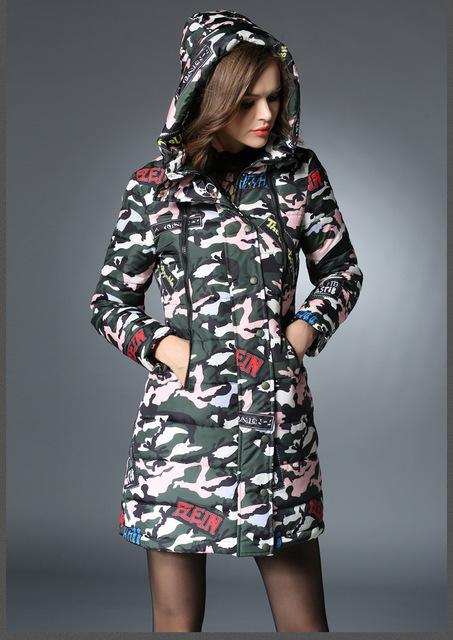 Novo 2016 casaco de Inverno plus size moda bonito com capuz Camuflagem de algodão-acolchoado casaco longo quente grossa jaqueta acolchoada mulheres 4XL 5xl