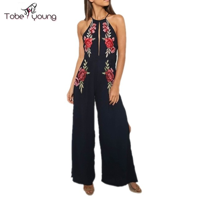 2017 New Sexy Backless Jumpsuit Rose Flower Embroidery Halter Wide Leg Playsuit Womens Overalls femme Beach Party Wear Plus Size