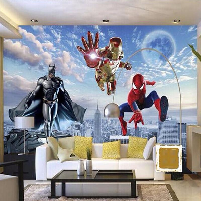 Beibehang 3d hero wall mural batman iron man spider man - Poster mural spiderman ...