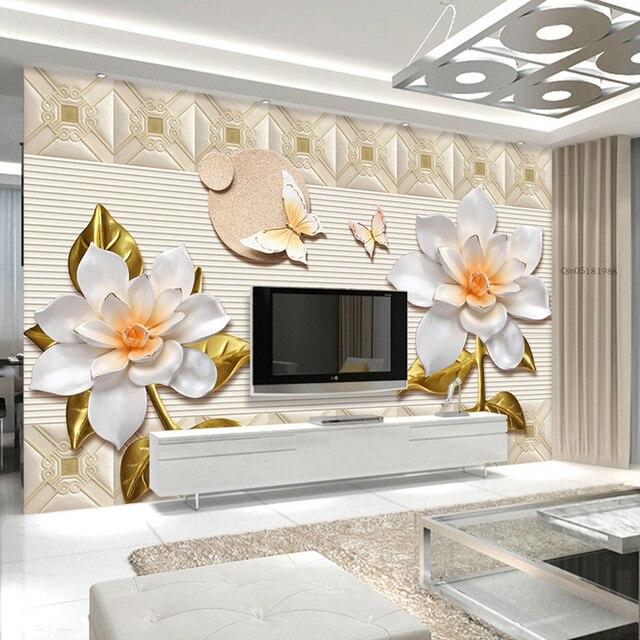 Aangepaste Mural Behang Europese Stijl 3D Stereo Relief Bloemen ...