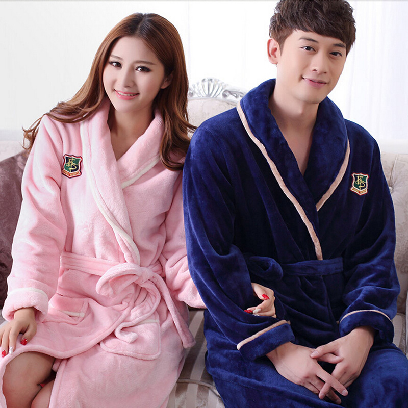 Flannel Hooded Couples Bathrobes Peignoir Femme Winter Warm Dressing ...