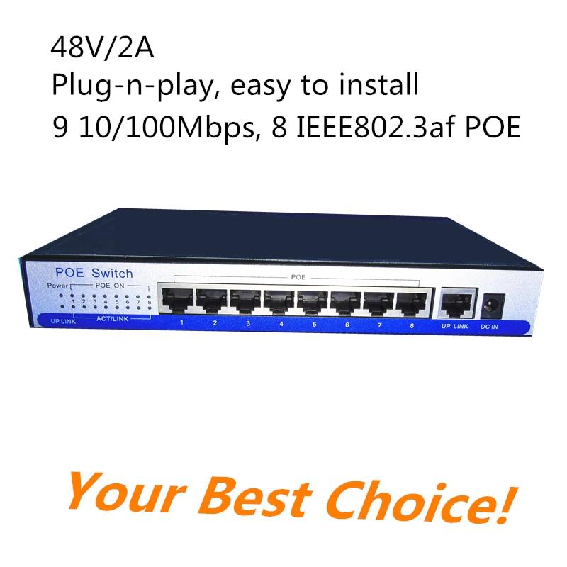 Πρότυπο IEEE802.3af 8 ποιος διακόπτης 9 θύρα rj45 48v για poe ασύρματη AP / poe ip κάμερα κλπ