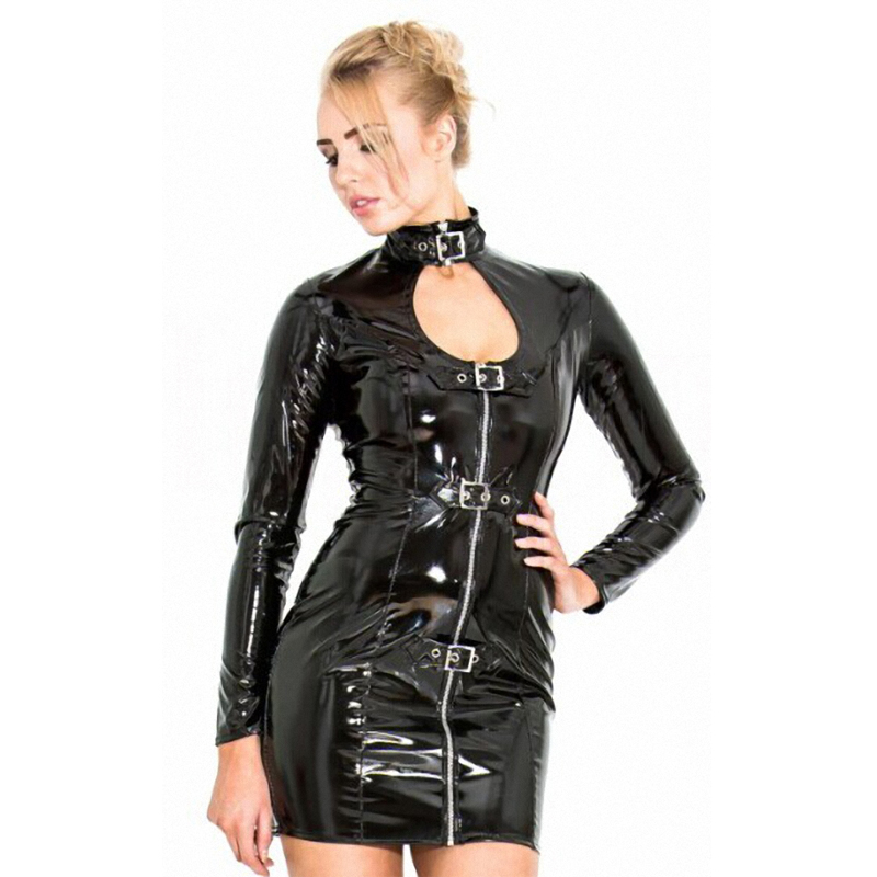 image Mini zip dress amp crotchless panties on the road