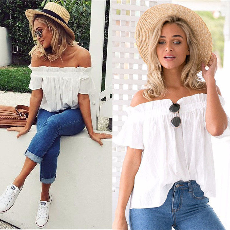 Casual Shirt Women Short Sleeve Slash Neck Soild T Shirt Strapless Off Shoulder Ruffles Female T Shirts Ladies Tops Tees in T Shirts from Women 39 s Clothing