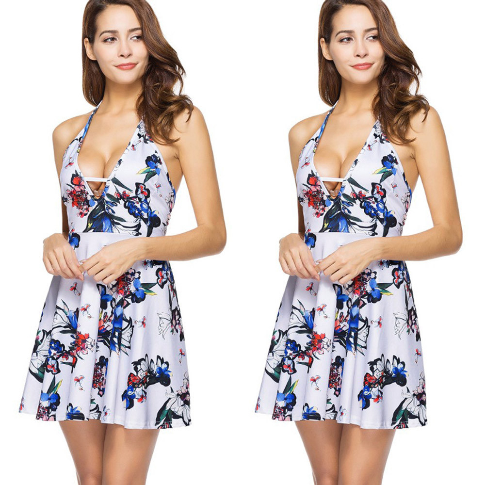 2591a3b17a2c Hot Fashion 2018 Sexy Strapless Halter summer dresses in White Women Ladies  Bandge V Neck Floral Print Mini Dress HIgh Quality