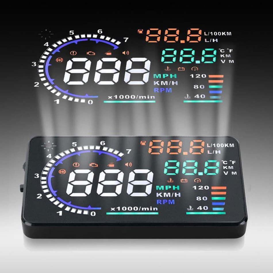 A8 5.5'' Car HUD Head Up Display OBD II 2 Speed Warning System Windscreen Projector Vehicle RPM MPH Fuel Consumption Styling
