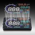 A8 5.5 ''Car HUD Head Up Display OBD II 2 Sistema de Alerta de velocidad Parabrisas Proyector Vehículo RPM MPH Consumo de Combustible Styling