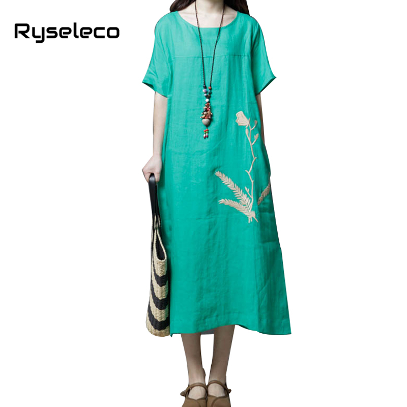 Hot Mothers Vintage Loose Big Oversize Comfort Cotton Linen Dresses Women Leafs Short Sleeve Summer Midi Straight Tunic Vestidos