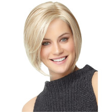 Free Shipping 1PC Bobo Wigs White Women European Straight Synthetic Kanekalon Black Women U Part Wig Natural Short Blonde Wig