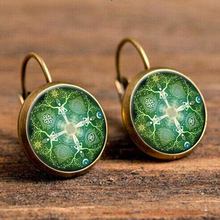 Green Pink Indian Africa Mandala Flower Drop Earrings for Women Ethnic Big Eardrop Vintage Wholesale Earrings Brincos 2018 vintage kaleidoscope flower drop earring for women blue purple indian mandala pattern round eardrop wholesale brincos 2018