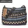 Women Crossbody Bag Vintage Large Capacity Shoulder Bag Multi-pocket Cotton Messenger Bag Hobo for Ladies